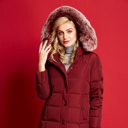 艾迪雅兰仕新款羽绒服女冬季保暖鹅羽绒服长款