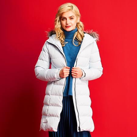 艾迪雅兰仕新款羽绒服女冬季保暖鹅羽绒服长款/藏青